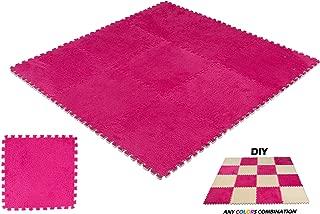 DeElf 9 pcs Interlocking Carpet Tiles Plush Foam Square Mats Set for Living Room, Bedroom, Kitchen and Hard Floor (Burgundy)