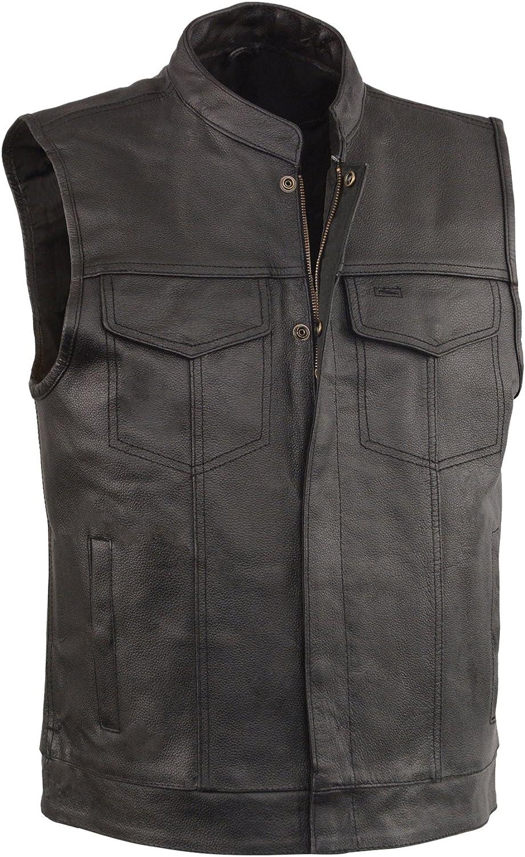 EVENT LEATHER Men's Open Neck Snap/Zip Front Club Style Vest (,)