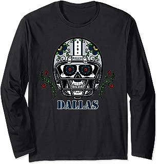 Dallas Football Helmet Sugar Skull Day Of The Dead Long Sleeve T-Shirt