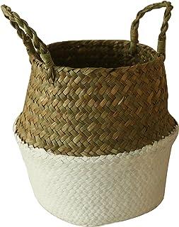 CVHOMEDECO. Panier de ventre en jonc de mer avec poignées Panier de rangement Pot de plante de jardin Pépinière pliable, N...