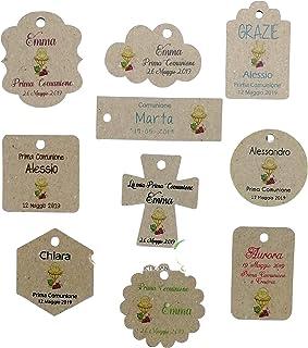 Cartellini Prima Comunione kraft personalizzati, a partire da 20 pezzi, vari colori, bomboniera, classico, croce, fiore, r...
