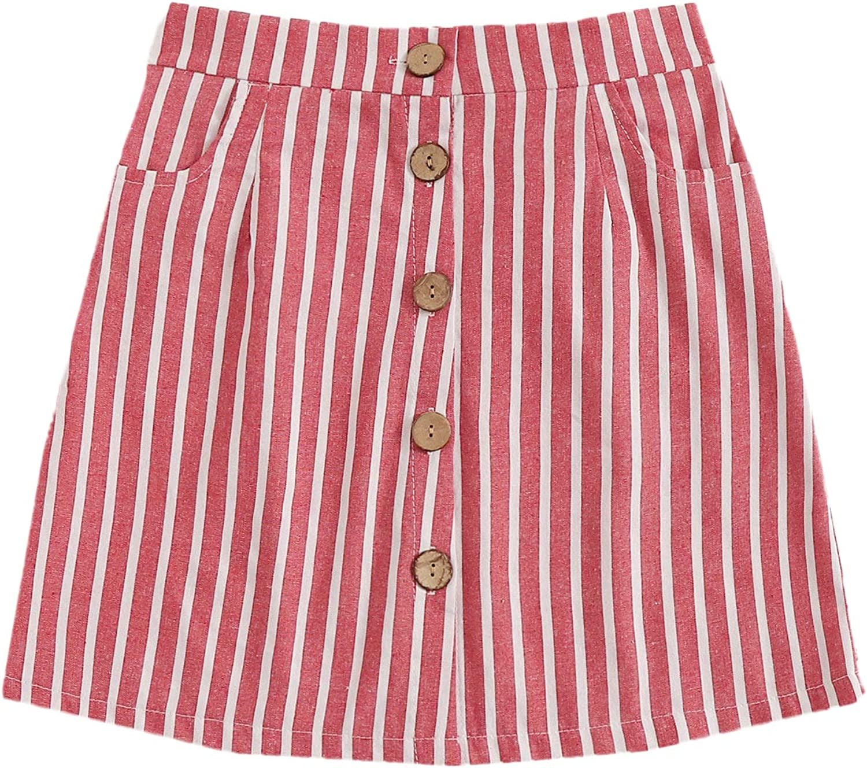 WDIRARA Women's Striped Button Down A Line Summer Casual Denim Mini Skirt