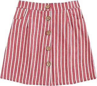 Women's Casual Striped Button Front A Line Mini Denim Skirt