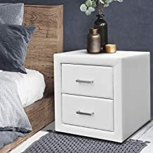 Artiss Bedside Table with 2 Drawers, Leather Upholstered Bedside Cabinet Sofa Side Table, White