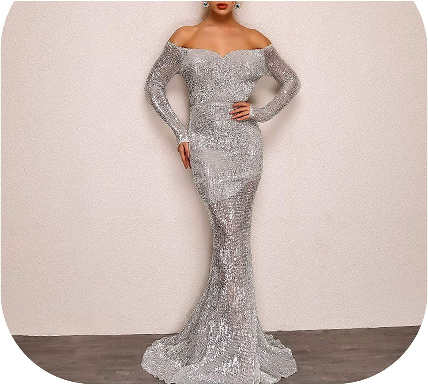Women Long Party Dress Off Should Sequin Dress Silver FloorLength Mermaid Dresses