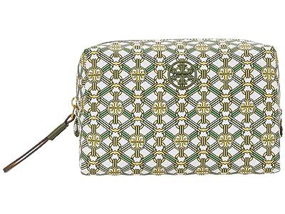 Tory Burch Piper Printed Small Cosmetic Case (Yellow Gemini Link Medallion) Handbags