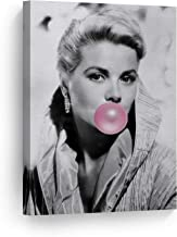 SmileArtDesign Grace Kelly Beauty Pink Bubble Gum Chewing Gum Wall Art Canvas Print Iconic Pop Art Home Decor Artwork Gallery Stretched and Ready to Hang -%100 Handmade in The USA - 12x8