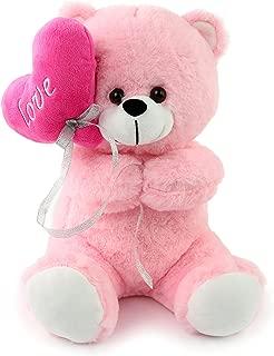 Athoinsu Pink Teddy Bear Stuffed Animals Holding Love Heart Soft Plush Toy Valentine's Day Children's Day Gifts , 12 inch