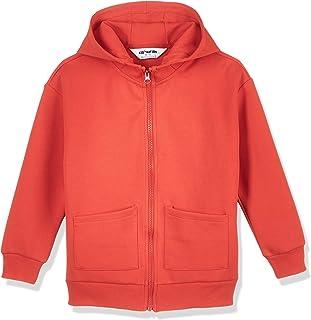 Kid Nation Kids Unisex Sport Fabric Drop Shoulder Hooded Sweatshirt Athletic Zip UP Hoodie 4-12 Years