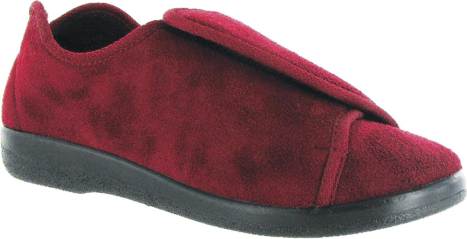 GBS Med Walton Unisex Medical Wide Fitting Slippers Burgundy