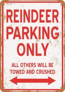 SRongmao 8 x 12 Metal Sign - Reindeer Parking ONLY