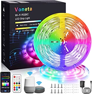 Voneta RGBIC LED Strip 5m, Wasserdichter LED Streifen funktioniert mit Alexa und Google Assistant, App Steuerung WLAN, Mus...
