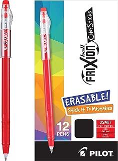 Pilot Frixion Colorsticks Erasable Gel Pens, Fine Point, Red Ink, Dozen Box (13228)