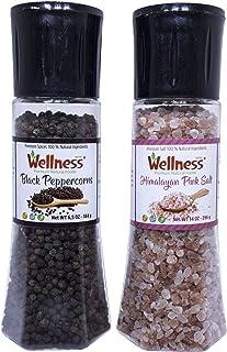 Salt and Pepper Grinders refillable Set - 6 oz 184 gr himalayan 12 oz 396 g Shakers with Adjustable for sea salt, black pe...