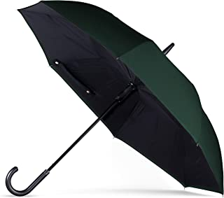 ANYWEATHER Reversible Inverted Automatic Open Umbrella Leather J Handle, Large, Hunter Green