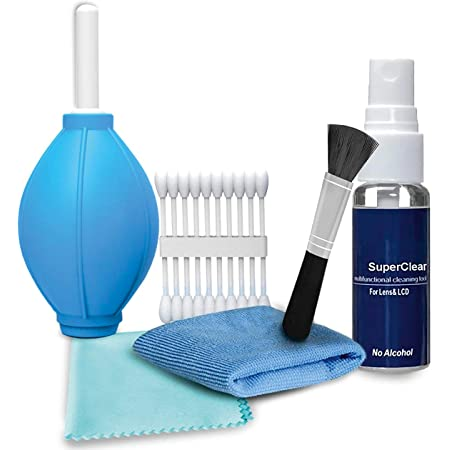 Prime Deals Professional 6-in-1 Cleaning Kit -Air Blower, Cotton Swabs, Suede + Plush Micro-Fiber Cloth, Brush,Cleaning Solution