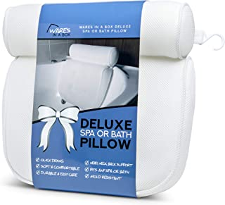 Bath Pillow For Neck Pain Relief | Perfect Bathtub Support | Ideal as Luxury Spa or Hot Tub Pillow | Soft Cushion for Back Pain Relief | Strong Suction Cups | New Larger Size | Wares In A Box