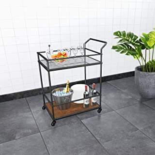U-Eway Kitchen Rolling Island,Bar Serving Cart on Wheels,3 Tiers Wine Tea Beer Shelves Holder with Drawer,Trolley with Storage for Dining Rooms Kitchens (Glass)