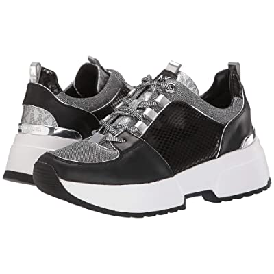 MICHAEL Michael Kors Cosmo Trainer (Black/Silver Metallic Small Air Mesh/Patent Solid Snake/Vachetta) Women