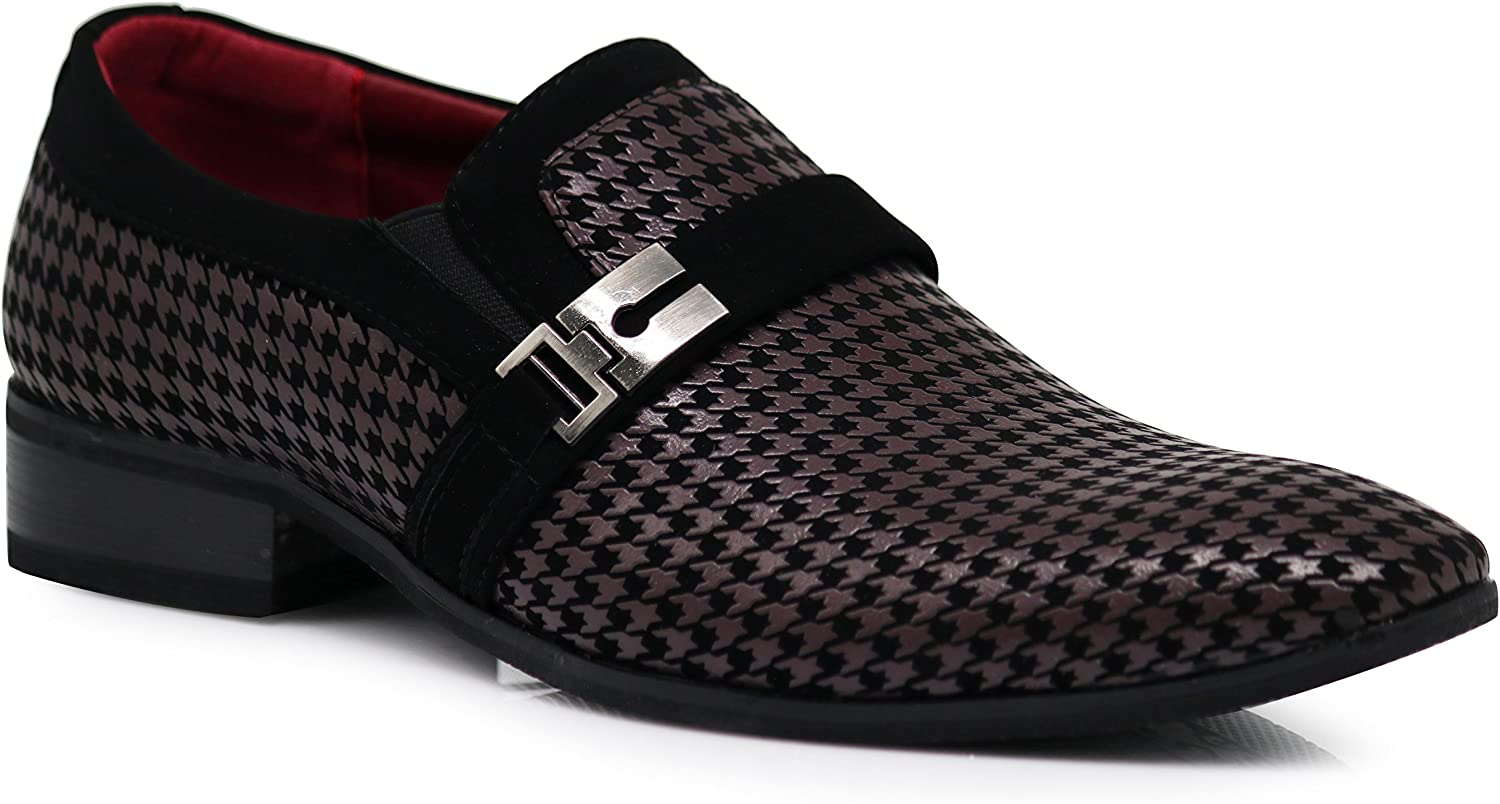 Enzo Romeo Plum05 Men's Dress Loafers Elastic Slip on with Buckle Fashion shoes Black