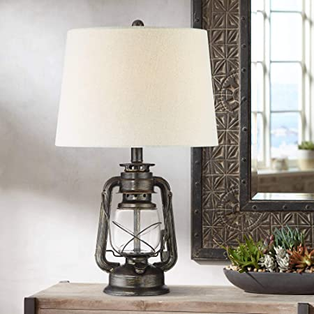 Murphy Industrial Rustic Accent Table Lamp Miner Lantern Weathered Bronze Metal Clear Glass Oatmeal Fabric Drum Shade Decor for Living Room Bedroom House Bedside Nightstand - Franklin Iron Works