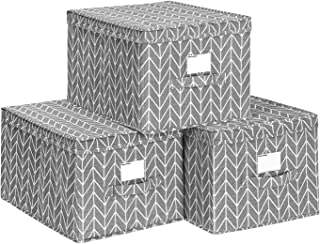 SONGMICS Set of 3 Foldable Storage Bins with Lids, Stackable Fabric Cubes with Label Holders, Toy Box Organizer, 9.8 x 15.7 x 11.8 Inches, Gray URTLB40G