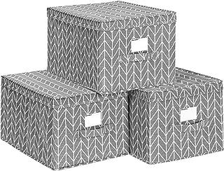 SONGMICS Lot de 3 Boîtes de Rangement avec Couvercle, Cube en Tissu avec Porte-étiquettes, Organiseur de Rangement, 40 x 3...