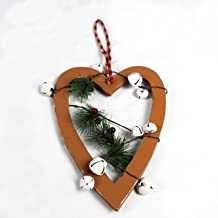 23cm Light Brown Wooden Heart Wall Hanging Ornament Decorated with White Bells Berries and Pines Christmas Holiday Home De...
