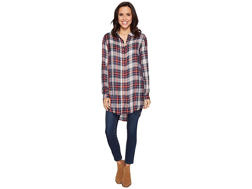 Jag Jeans Magnolia Tunic in Rayon Plaid (Coral Plaid) Women