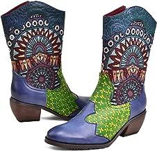 CrazycatZ Womens Mid Calf Boots Bohemian Splicing Pattern Block Heel Leather Western Boots