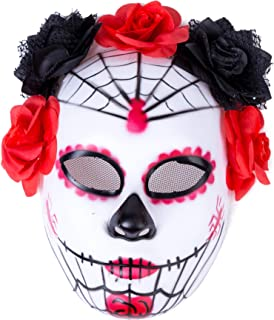 Women's Masquerade Mask Mexican Day of The Dead Sugar Skull Red Black Halloween Costume