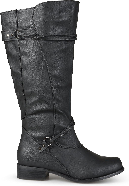 Brinley Co Women's Harley Riding Boot Regular & Wide Calf