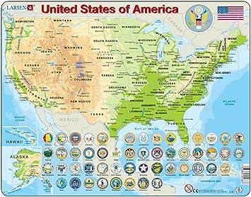 Cartina Fisico Politica Degli Stati Uniti.Larsen K36 Mappa Fisica Degli Stati Uniti D America Edizione Inglese Puzzle Incorniciato Con 90 Pezzi Amazon It Giochi E Giocattoli