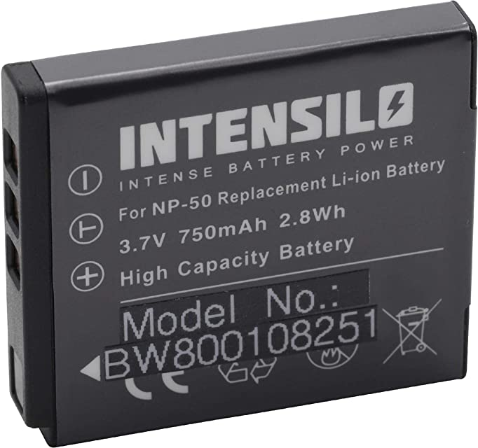 INTENSILO Li-Ion batería 750mAh (3.7V) para cámara cámara de video Video Pentax Optio S10 S12 VS20 por NP-50 D-Li122 GB-20.