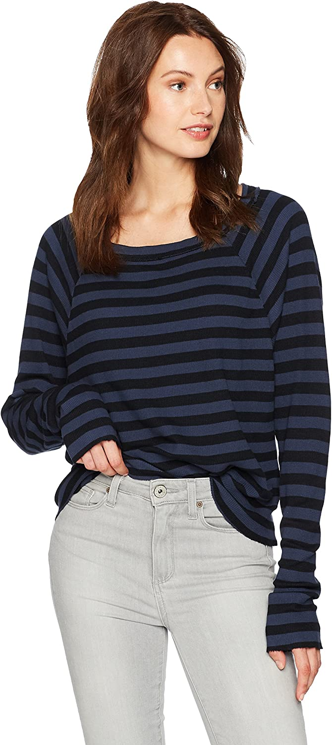 Stateside Womens Stripe Thermal Longsleeve Raglan TShirt