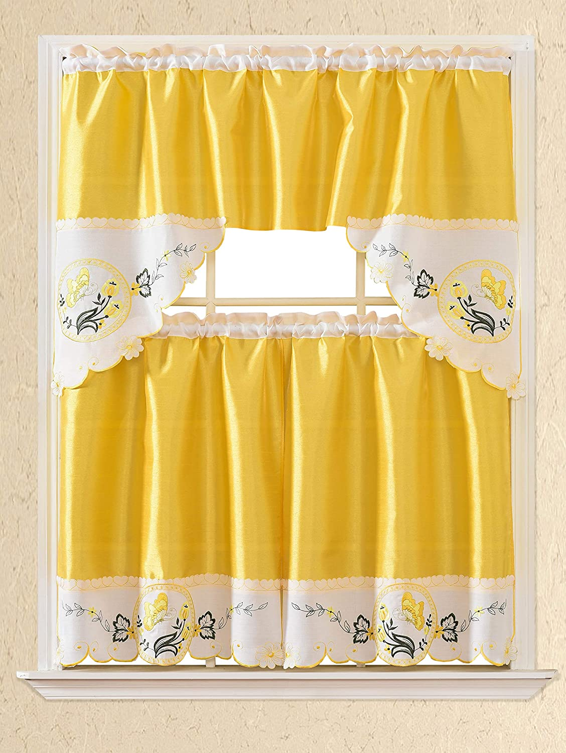 3pc Rod Pocket Embroidered Kitchen Curtains and Valances Set Swag Curtains & Tier Set 36 Inch Length Floral Fruit Designs Many Colors( BT335-YELLOW)