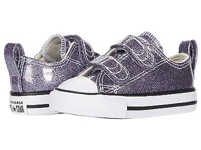 Converse Kids Chuck Taylor All Star 2V Glitter Ox (Infant/Toddler) (Thunder/White/Black) Girl