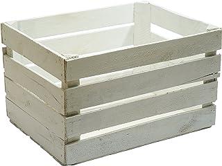 Caja madera blanca decapada  vintage, ideal para decoración,escaparates. Medida 50x30x25 1,5 grosor