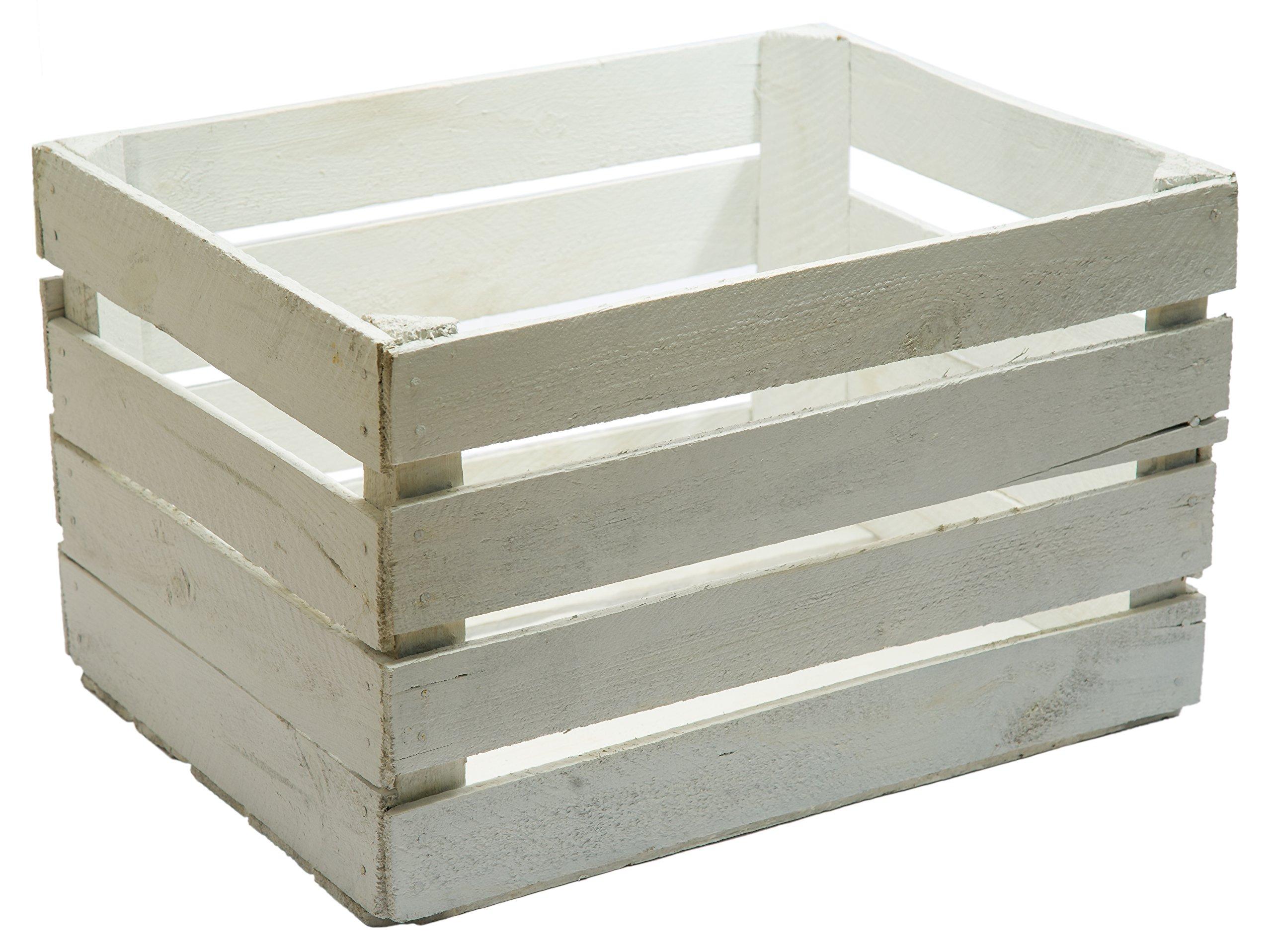 Caja madera blanca decapada vintage, ideal para decoración,escaparates. Medida 50x30x25 1,5 grosor: Amazon.es: Hogar