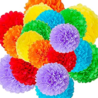 18pcs Decorative Tissue Paper Pom Poms(14in, 12in, 8in) Color Paper Flowers Birthday Celebration Wedding Party Fiesta Hall...