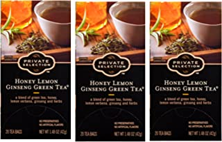 Private Selection Honey Lemon Ginseng Green Tea 20 ct (Pack of 3)