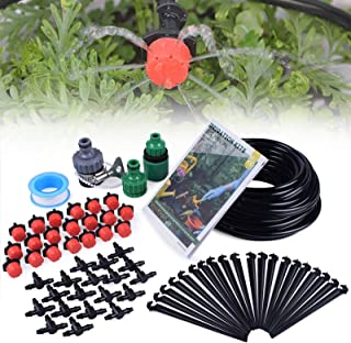 "MIXC 1/4-inch Drip Irrigation Kits Plant Watering System Accessories Fitting with 50ft 1/4""Blank Distribution Tubing Hose, 20pcs Emitters, Barbed Fittings, Support Stakes, Quick Adapter, Model: GG0C"