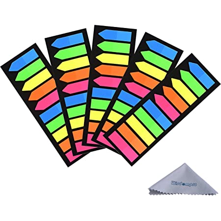 Yowanted 2 Sets Bookmark Colored Index Tabs Flags Fluorescent Sticky Notes for Page Marker 250 Pieces