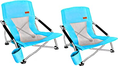 Nice C Low Beach Camping Folding Chair, Ultralight Backpacking Chair with Cup Holder & Carry Bag Compact & Heavy Duty Outdoor, Camping, BBQ, Beach, Travel, Picnic, Festival