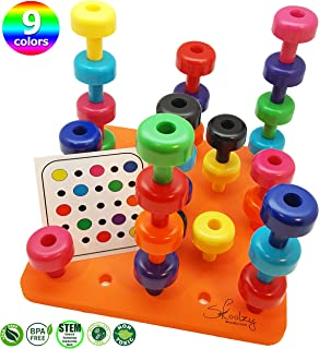 Skoolzy Peg Board Toddler Learning Toys -Fine Motor Skills Montessori Toys for Toddlers - 32 pc Stacking Occupational Therapy Games for Kids - 9 Color Sorting Boys and Girls Toys. Age 2+