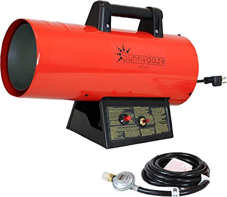 Sunnydaze 40,000 BTU Forced Air Propane Heater - Portable Heat for Construction Sites - Auto-Shutoff for Overheating Protection - Adjustable Heating Output - Piezo Ignition - Red and Black: image
