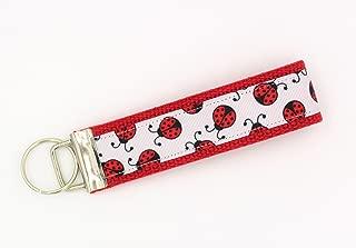 Ladybug Ribbon Wristlet Key Fob Keychain Red