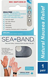 Sea-Band Wristband, Adult, Colors May Vary, 1 Pair, Anti-Nausea Acupressure Motion or Morning Sickness, 2 Count (Pack of 1)