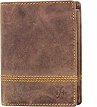 STARHIDE Mens RFID Blocking Distressed Hunter Leather Trifold Coin Pocket Wallet 1195 Brown