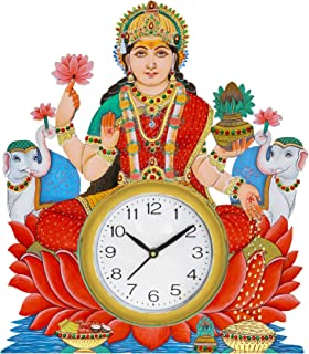 Shiva arts Wood Hand-painted UV Printed Designer Beautiful Goddess Laxmi Wall Clock (Multicolour, Height-16 Inches, Width-...